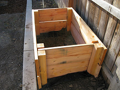 Wooden compost bin comes in a kitset, can be increase in height