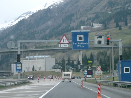 Gotthard Tunnel with snow capped Alps in the background.