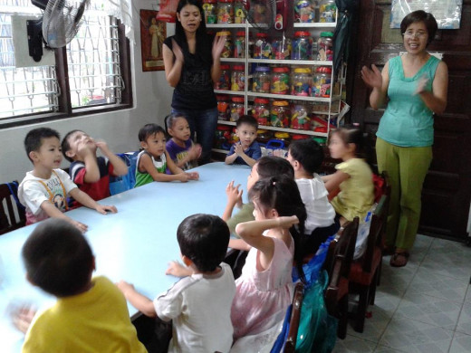 A group of pre-school children.