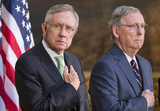 Two twins representing the Lobbies, not the People.  Sens. Harry Reid (D) (former majority leader) and Mitch McConnell (R) (current majority leader).