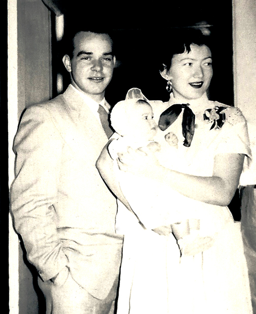 My Dad, Nelson Scott, and Mom holding me in 1954.