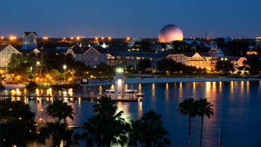 Disney's Yacht and Beach Club Resorts, with EPCOT's Spaceship Earth visible beyond