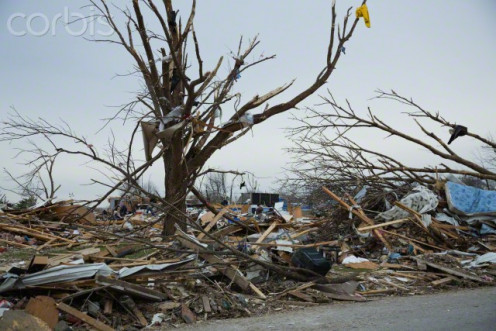 Results of a twister that touched down during a tornado.