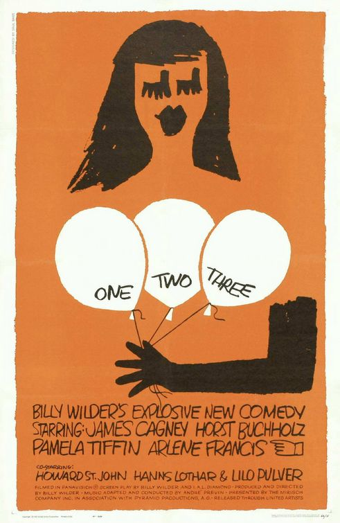One, Two, Three theatrical release poster by Saul Bass