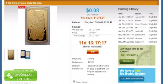 Gold Bullion for auction at RockyBid.com