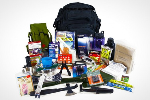 Typical supplies in a Bug Out Bag