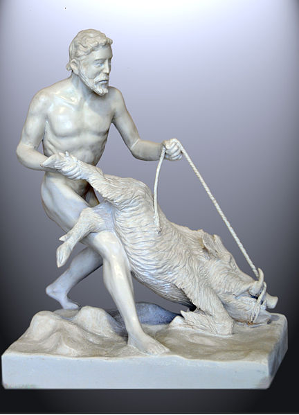 Heracles and the Erymantian boar. Statuette of 60 by 52 and 29 cm. Work of J. M. Félix Magdalena - Photo by Jomafemag - Released into PD