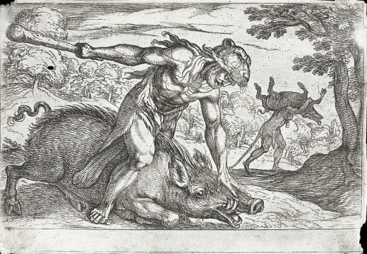 Hercules and the Boar of Erymanthus - Antonio Tempesta- PD-art-100