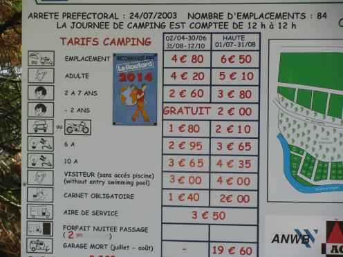 Camping site tariffs
