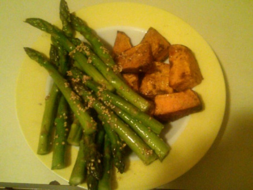 Grilled asparagus and sweet potato