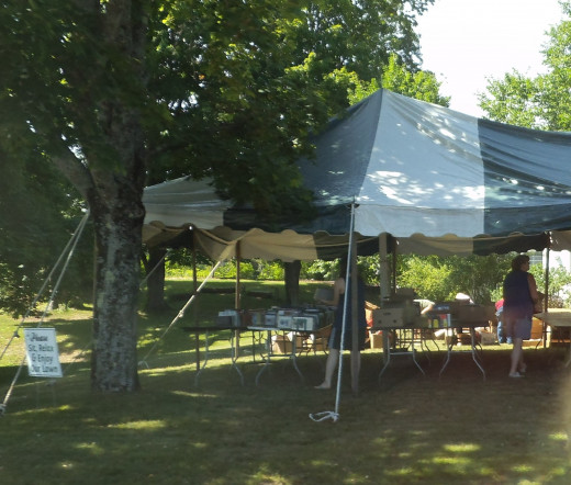 The Springvale Library in Maine holds an annual 2-day book sale on their lawn. Volunteers help collect, price and sell the books. They also sell canvas bags with the library's logo on it.