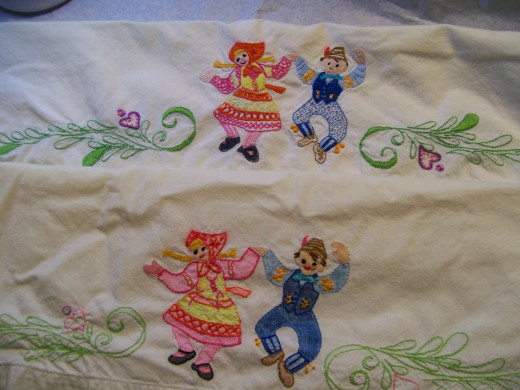 Both pillow cases, a side by side comparison.