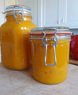Pumpkin puree in a Fido jar, rear, and a Le Parfait jar, front