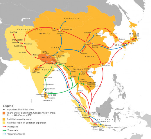 The spread of Buddhism. Buddhism began in India around 500 BC, then spread to Sri Lanka, Southeast Asia, and into Tibet, China and Japan. The early forms of Buddhism are known as Theravada (teaching of the elders).