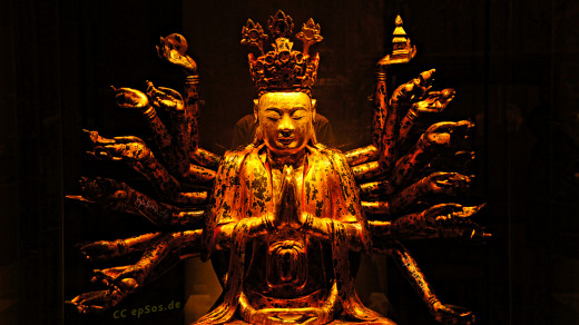 Golden Buddha. From around 200 BC, people began to build statues of the Buddha. He is usually shown sitting cross-legged, with each foot resting on the opposite thigh. It is called the lotus position. It is used in yoga to help concentrate the mind.