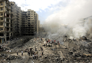 Dahiyeh, a southern suburb of Beirut, Lebanon, and Hezbollah stronghold, after Israeli air strikes in August 2006. (AP photo by Hussein Malla)