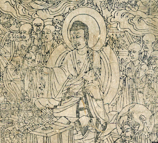 A picture of Buddha preaching from the Diamond Sutra. This sacred Buddhist scroll is five meters long and contains one of the Buddha's sermons. It is the world's oldest printed book.