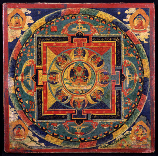 A mandala is a representation of the world through pictures and diagrams. It can be a vast temple, or a picture printed on paper or silk. Buddhists chant mantras over mandalas as they are made. They believe that they give off powerful energy.