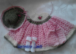 Free Doll Crochet Thread Dress Gown for 8.5 inch OOAK Polymer or Lil Bittie Baby