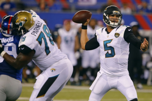 Jacksonville Jaguars quarterback Blake Bortles (5) attempts to pass against the New York Giants during first half at MetLife Stadium. Mandatory Credit: Noah K. Murray-USA TODAY Sports Aug 22, 2015; East Rutherford, NJ