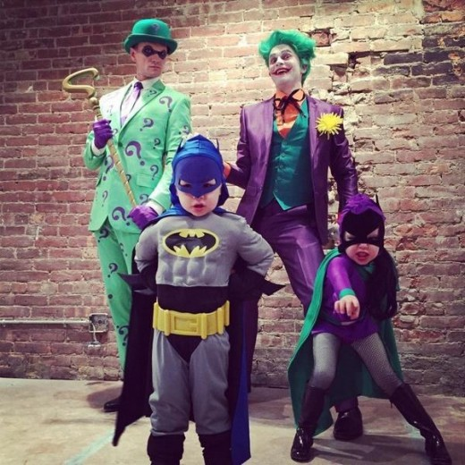 The Joker, Riddler, Batman and Batgirl.