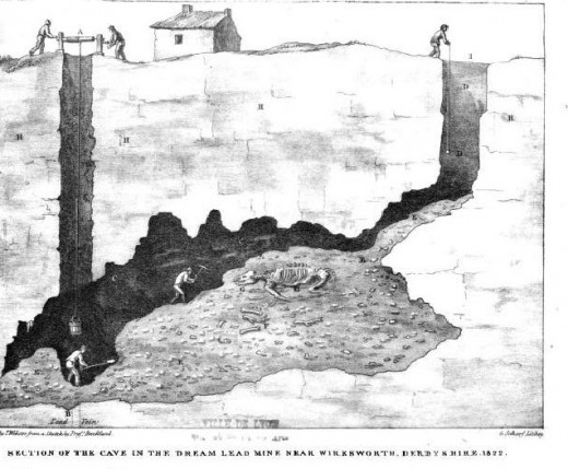 Illustration of 'Dream Cave' Mine near Wirksworth 1824