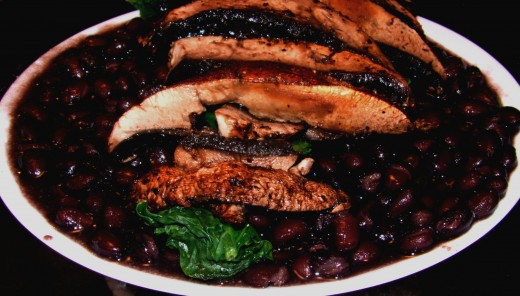 I eat them because I enjoy them, but liquid woodsmoke and some simple spices add depth to cooked greens, portabella and a base of beans.