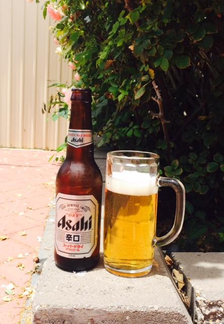 Asahi in the backyard!