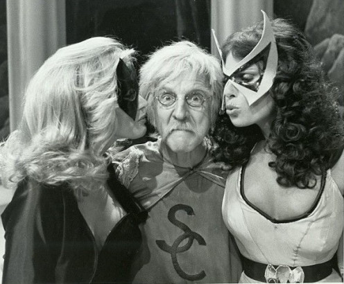 The Scarlet Cyclone (William Schallert) gets a friendly greeting from The Black Canary (Danuta Rylko Soderman) and The Huntress (Barbara Joyce)