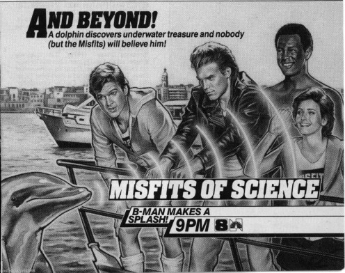 Vintage collectible TV Guide ad for the Misfits of Science. (Low resolution image used to identify the series.)