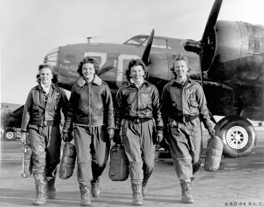 "Women pilots leaving their B-17, ""Pistol Packin' Mama"", at Lockbourne AFB, Ohio"