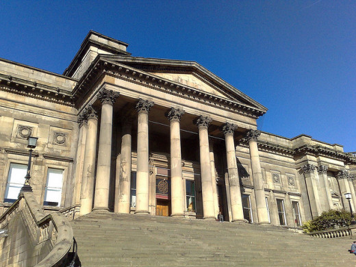 The imposing entrance to the World Museum, Liverpool