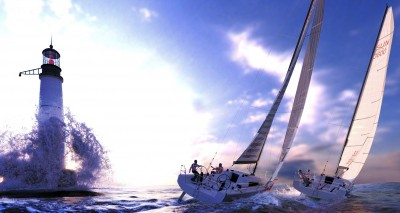 Two sailing yachts embrace the lighthouse's presence