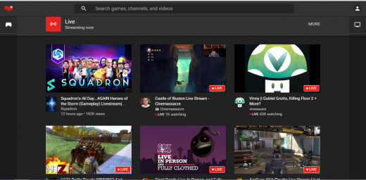 YouTube Gaming homepage 28/8/2015