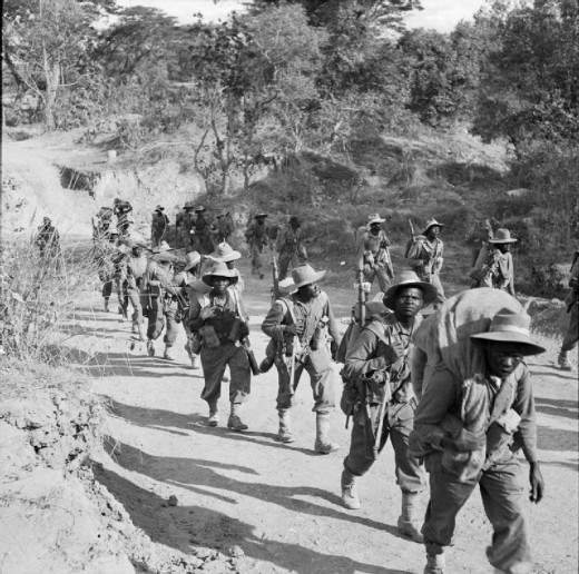 African Troops in Burma during the Second World War Troops of 11th East African Division on the road to Kalewa, Burma, during the Chindwin River crossing.