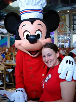 Mickey Mouse and my niece at Chef Mickey's restaurant