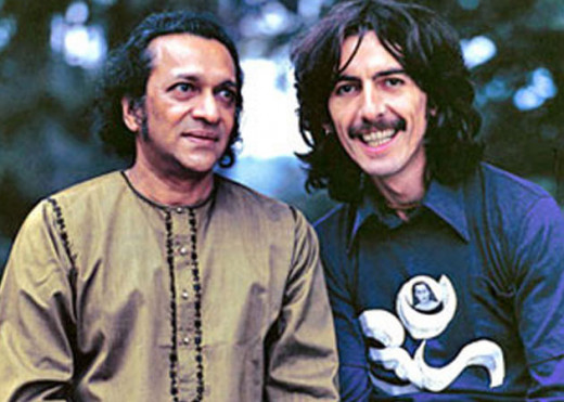 Sitar master Ravi Shankar with George Harrison