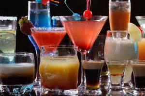 A variety of alcoholic drinks.
