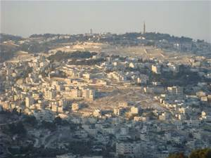 the view of the Mount of Olives to the East of Jerusalem