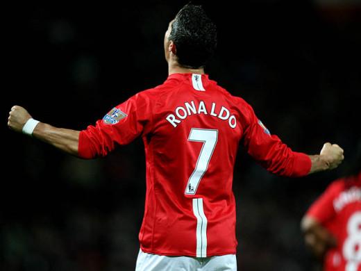 Cristiano Ronaldo celebrates a goal he just scored.