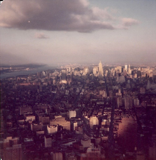 Midtown Manhattan from the Observation Deck of the World Trade Center, 1979. After World War II the architectural concept of form follows function took hold.  The result was many skyscrapers took on a box like appearance.
