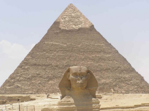 The Sphinx in front of the Great Pyramid