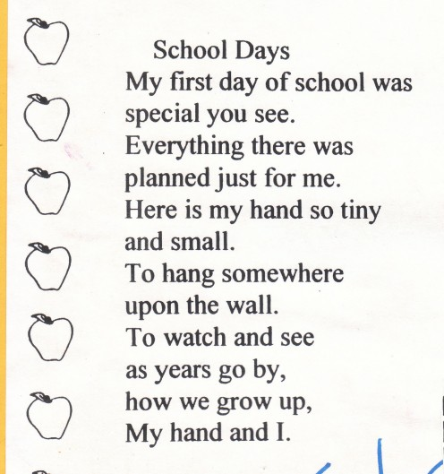 Poem that came with a school craft project.