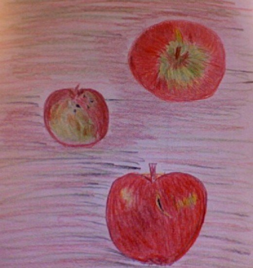 Organic apples from Madison Farmer's Market. Color Pencil Sketch by Mirna E. Santana