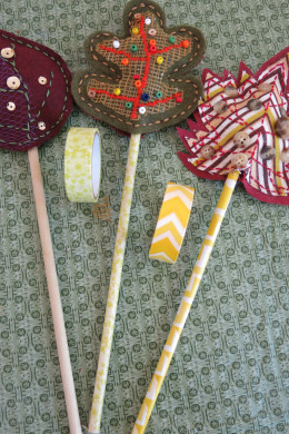 Adding stems to your scrap fabric fall leaf decorations