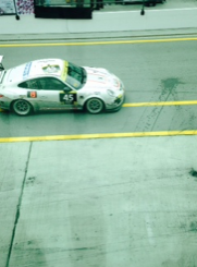 Porsche 997 GT3 R coming from Pit Stop, at Dunlop 24Hour Race.