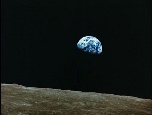 View of the earth from moon