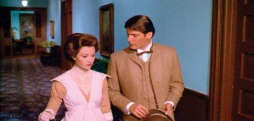 Richard (Christopher Reeve) and Elise (Jane Seymour) warm up to each other.