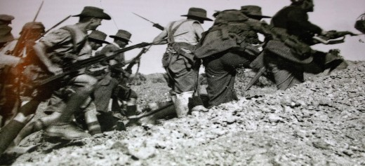 Australian troops advance at the run with fixed bayonets against the Turkish trenches at Gallipoli