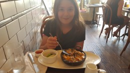 My daughter Rose enjoying breakfast